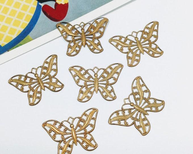 6 Vintage Brass Nouveau Filigree Butterfly charms 30x21mm