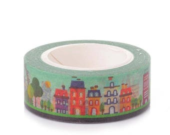 10m roll Happy Town Washi Tape 15mm wide, boxed craft tape for stationery, gift wrap, arts
