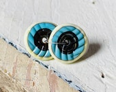 Puffy Discs - Brown Turquoise and Cream