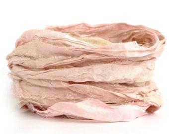 Pink silk ribbon handdyed recycled sari silk Flamingo, 10metre length, textile arts, jewellery making, bouquet wrap, felting, shell pink