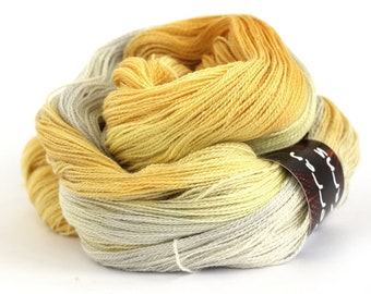 Sparkly lace yarn, hand dyed 2ply laceweight merino silk sparkle, Perran Yarns Champagne Wedding, variegated yarn skein uk silver gold lemon