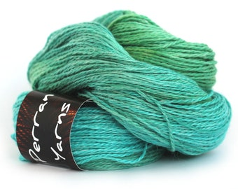 Light worsted DK yarn, hand dyed double knitting baby alpaca linen silk blend crochet yarn skein, Perran Yarns Woodland Glade blue green uk