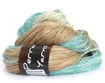 Egyptian DK baby alpaca linen silk yarn handdyed in Sandy Toes