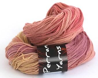 Pure yak yarn, 100% yak handdyed sportweight knitting crochet Perran Yarns Sunset Party orange pink variegated yarn, free knitting pattern