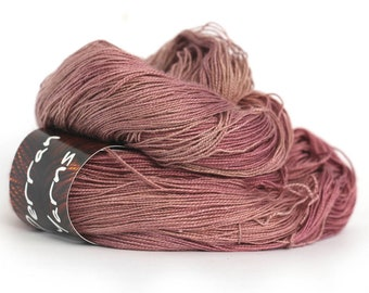 Tranquil Lace silk baby camel laceweight yarn handdyed in shade Blackcurrant Sorbet