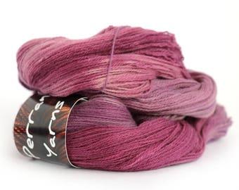 Pure yak handdyed laceweight yarn, 100% yak lace knitting Perran Yarns, Blackcurrant Sorbet purple plum yarn skein uk, free crochet pattern