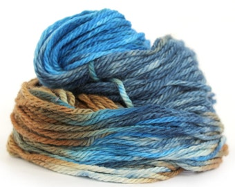 Superwash merino chunky wool, bulky handdyed variegated yarn, knitting crochet Perran Yarns, Steelworks, uk yarn skein hank, blue brown