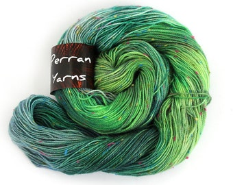 Fleck 4ply sock yarn, handdyed fingering merino bright donegal nep knitting wool, variegated crochet Perran Yarns Wildflower Meadow, uk