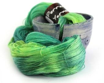 Merino tencel handdyed laceweight wool, Perran Yarns Abundance, variegated fine lace yarn skein, lime emerald forest green, uk seller