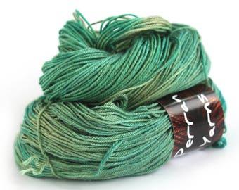 4ply silk baby camel yarn, variegated luxury skein handdyed fingering green knitting crochet yarn, Perran Yarns Woodland Glade, uk seller