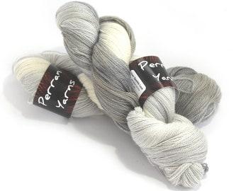 Hand dyed laceweight merino silk sparkle, sparkly lace yarn, Perran Yarns Pebble, silver platinum grey ecru variegated yarn skein, uk seller
