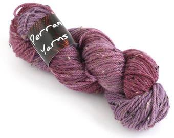 Handdyed aran wool, hand dyed merino donegal fleck yarn, worsted crochet yarn, Perran Yarns, Blackcurrant Sorbet, purple plum fandango acai