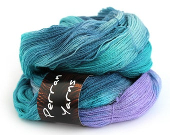 2ply laceweight SIlkface British BFL wool handdyed in shade Moonscape