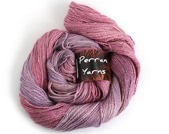 Egyptian DK yarn, handdyed baby alpaca linen silk, Blackcurrant Sorbet