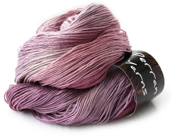 4ply silk seacell yarn handdyed in shade Blackcurrant Sorbet
