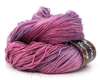 150g 4ply British BFL Silk blend Decadence yarn handdyed in shade Blackcurrant Sorbet