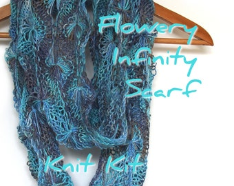 Flowery Infinity Scarf knit kit, Egyptian DK yarn in your colour choice