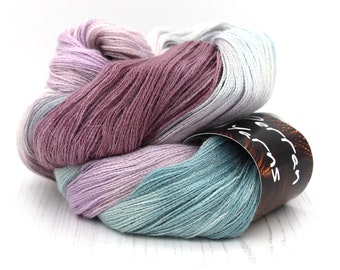 Baby alpaca silk cashmere Heavenly Lace yarn handdyed in Rainbow Flourite