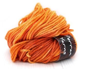 Chunky pure merino wool, 100grams handdyed in shade Burnished Orange