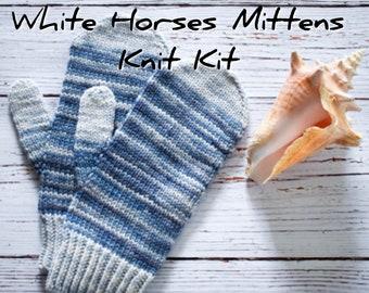 White Horses Mittens knit kit with handdyed DK Falkland Merino wool