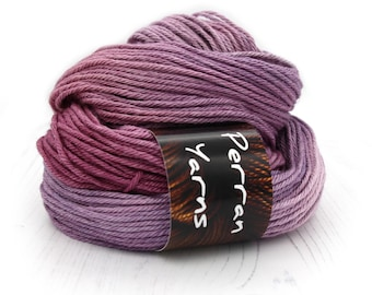 Aran Merino Silk luxury yarn handdyed in shade Blackcurrant Sorbet