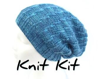 Slouchie Twist Beanie Hat knit kit with handdyed merino silk aran yarn