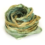 Recycled sari silk ribbon handdyed in Forest Fern, 10metre length, textile arts, mixed media, jewellery making