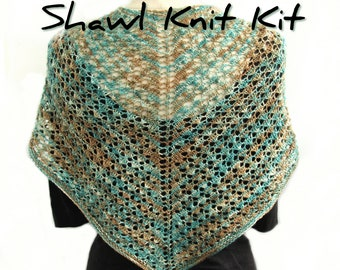 Lacy Heart Shawl knit kit, pattern with handdyed Perran Yarn