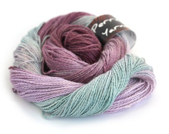 Hand dyed DK, double knitting baby alpaca linen silk blend, light worsted crochet yarn skein, Perran Yarns Rainbow Flourite plum lilac teal