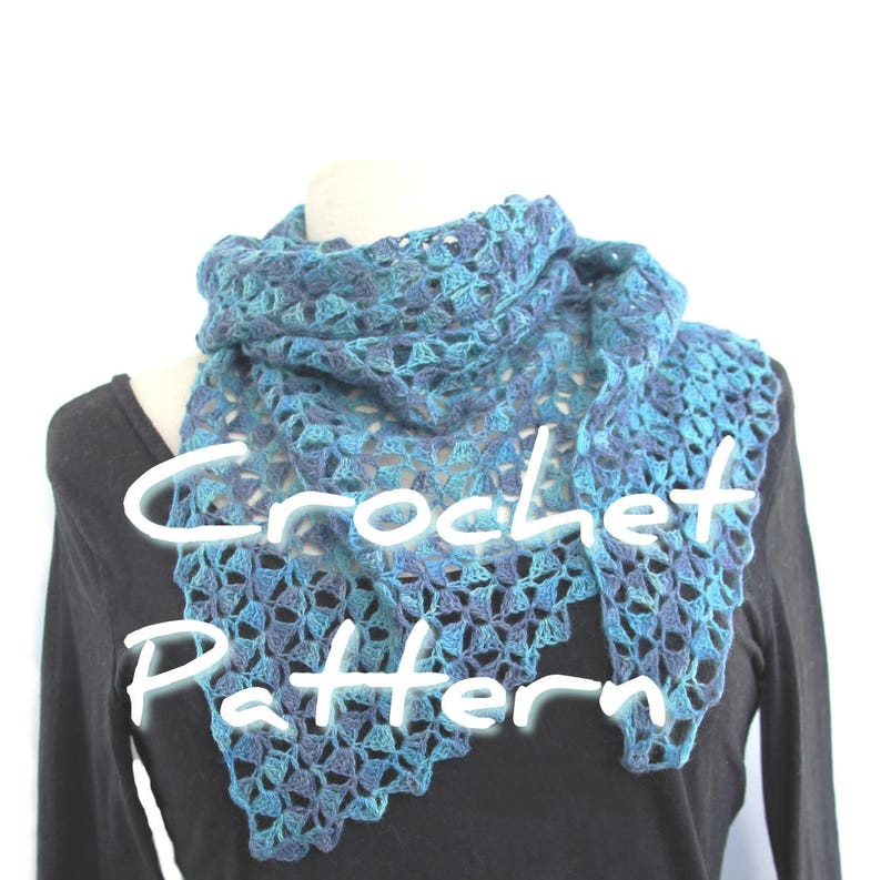 Crochet shawl pattern DIY lacy laceweight yarn triangle scarf image 0