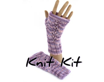 Fingerless mitts knit kit with handdyed Devon DK alpaca in your colour choice