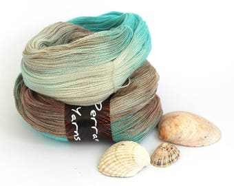 Sparkly lace yarn, handdyed merino silk silver stellina sparkle 2ply laceweight yarn, Perran Yarns Ripples in the Sand, variegated wool aqua