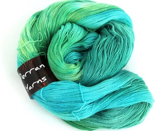 Sparkly lace yarn, hand dyed laceweight merino silk sparkle, Woodland Glade Perran Yarns, variegated yarn skein, uk seller, turquoise, green