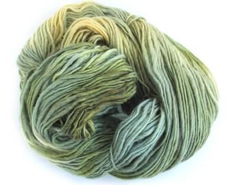 Chunky slub green wool big hank 250g Falkland Corriedale handdyed British breed bulky knitting crochet yarn skein, Perran Yarns Euphorbia