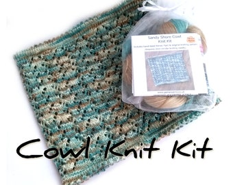 Sandy Shore Cowl knit kit with handdyed merino tencel 4ply yarn, choose your colour