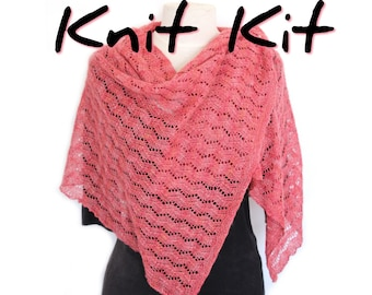 Tidal Wrap knitting kit with handdyed silk camel Tranquil Lace yarn and easy lace pattern, choose your colour