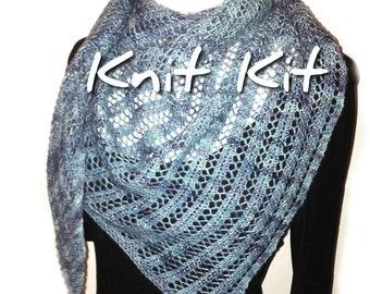 Shawl knit kit, diy Triangle Trellis scarf, handdyed Perran Yarn