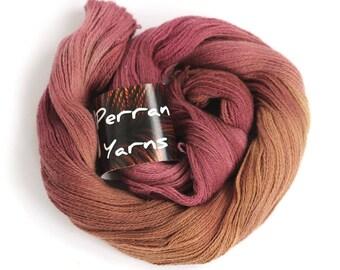 Pure yak lace yarn, handdyed laceweight 100% yak knitting crochet Perran Yarns Merlot burgundy copper variegated yarn skein uk seller