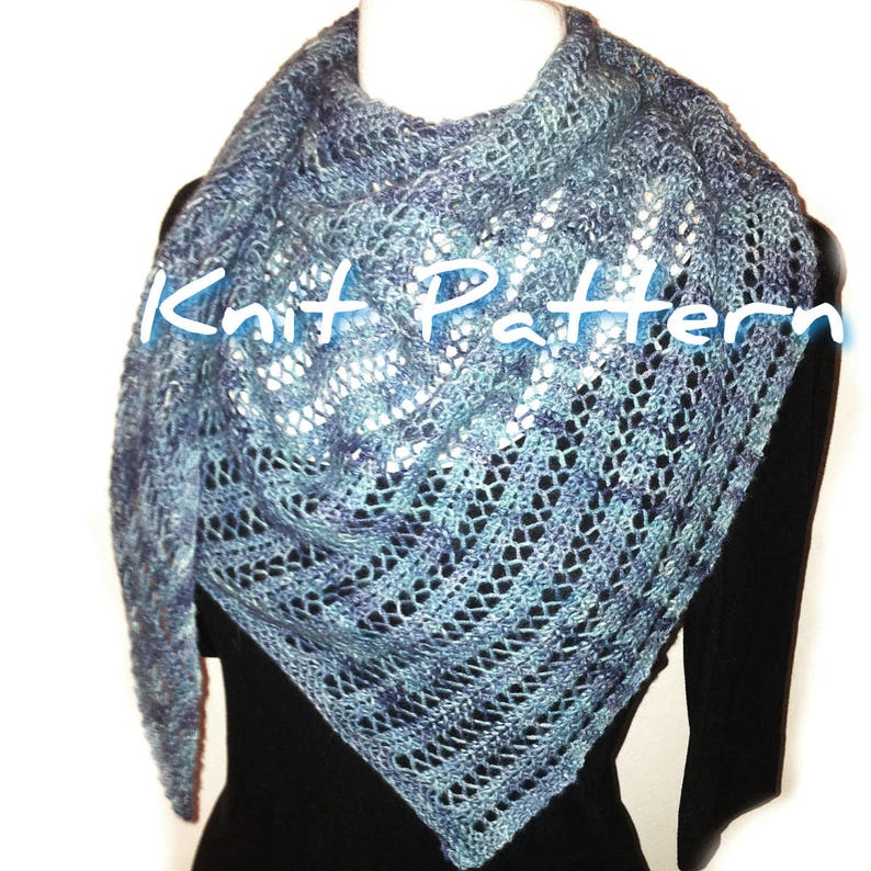 Knit Scarf Pattern Diy Lacy Shawl Knitters Gift Triangle Etsy