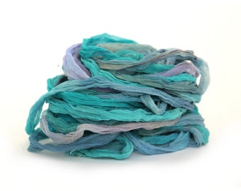 Recycled chiffon silk ribbon handdyed Moonscape, turquoise blue lilac purple, 10 metre 11 yard pack, textile arts mixed media trim uk seller