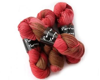 400grams aran superwash BFL wool handdyed in shade Chilli Roast