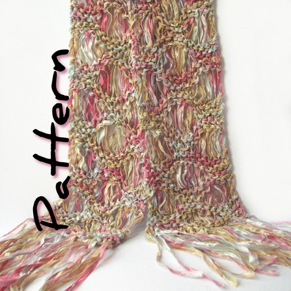 Easy Knit Scarf Printable Pattern Pdf Ripple Scarf Drop Etsy