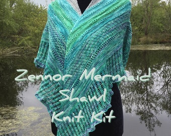 Zennor Mermaid Shawl Knit Kit with handdyed 4ply merino wool