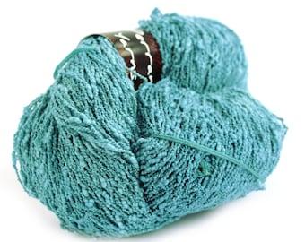 Blue cotton slub yarn, hand dyed 4ply crochet yarn, natural fibre fingering knitting yarn, Perran Yarns Ocean Blue megaskein, large hank, uk