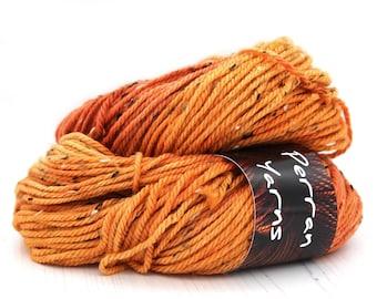 Aran worsted fleck merino wool handdyed in shade Burnished Orange