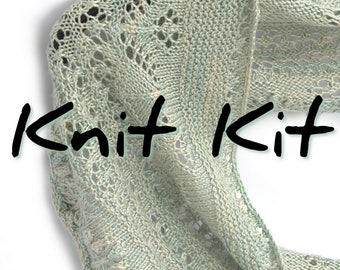 Flower Row Crescent Shawlette knit kit with 4ply silk seacell yarn, choose your colour