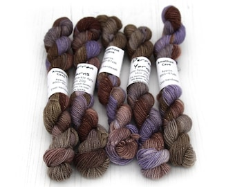 Sparkly 4ply mini skeins, 20g sock yarn handdyed in colourway Amethyst Cave