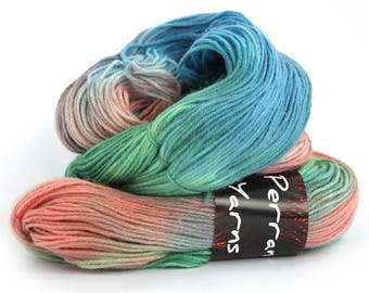 Handdyed 4ply yarn, superwash merino cashmere nylon fingering wool, sock knitting wool, crochet Perran Yarn Years Gone By, green blue pink