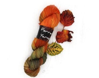4ply gold sparkle merino wool, hand dyed in colourway Pumpkin Season