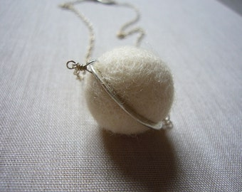 White Felted Wool Silver Saturn Necklace